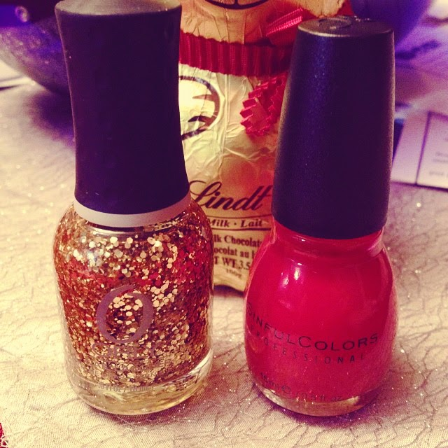 Nails: Red and Gold Hex Sparkles